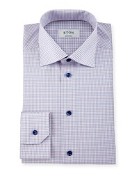 Eton Contemporary Fit Check Dress Shirt Pink Women's