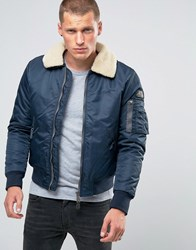 Schott Pilote Flight Bomber Faux Fur Collar Navy
