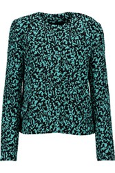 Proenza Schouler Silk Organza Trimmed Boucle Jacket Turquoise