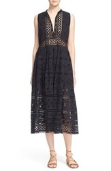 Women's Sea Diamond Eyelet And Lace Midi Dress
