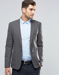 Asos Skinny Blazer In Charcoal With Colour Fleck Detail Charcoal Grey