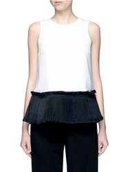 Opening Ceremony 'Stone' Organdy Pleated Hem Tank Top White Multi Colour