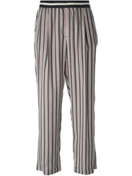 Mauro Grifoni High Waist Striped Trousers Grey