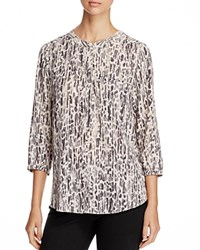 Nydj Pleated Back Blouse Luxe Alpine Leopard Berber