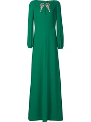 Roberto Cavalli 'Wings' Embellished Long Dress Green