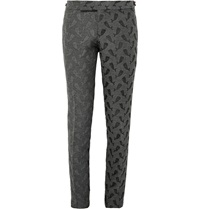 Thom Browne Dark Grey Skinny Fit Whale Jacquard Trousers Gray