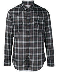 Saint Laurent Check Print Western Shirt Black Multi Coloured White