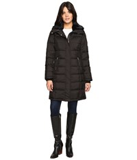 Cole Haan Down Coat With Rabbit Faux Fur Removable Collar Black Women's Coat