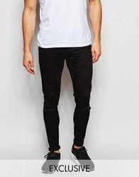 Exclusive To Asos Waven Jeans Extreme Super Skinny Fit Mid Rise Clean Black Ripped Cleanblack