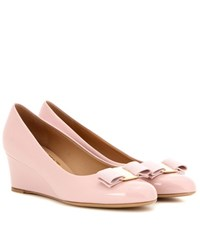 Salvatore Ferragamo Mirabel Patent Leather Wedges Pink