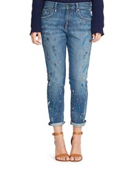 Lauren Ralph Lauren Paint Splattered Jean Blue