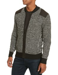 Kenneth Cole Marled Bomber Sweater Charcoal Heather