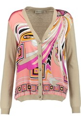 Emilio Pucci Stretch Silk Paneled Wool And Cotton Blend Cardigan Nude