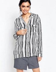 Ganni Nairobi Crepe Wavey Striped Blouse White Smoke Black Multi