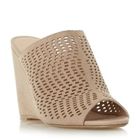 Linea Kaprio Perforated Mule Wedge Sandals Taupe