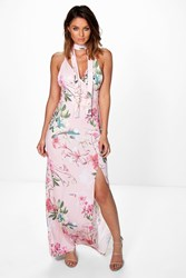 Boohoo Floral Wrap Neck Tie Slinky Maxi Dress Multi