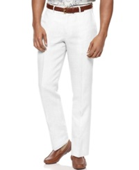 Tasso Elba Island Big And Tall Flat Front Linen Pants White