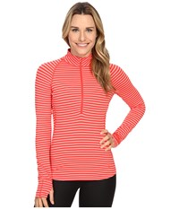 Mountain Hardwear Butterlicious Stripe Long Sleeve 1 2 Zip Red Hibiscus Women's Long Sleeve Pullover