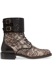 Rene Caovilla Embellished Leather And Lace Boots Black
