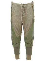 Greg Lauren Army Style Cropped Trousers Green