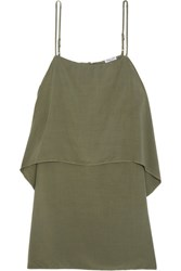 Splendid Layered Voile Mini Dress Army Green