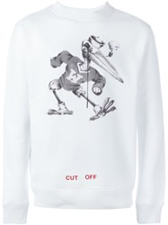 Off White Stork Print Sweatshirt White