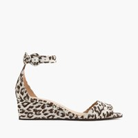 J.Crew Laila Wedges In Leopard Print Ivory Brown Silver