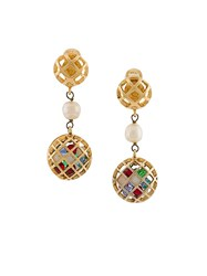 Chanel Vintage Gripoix Clip On Earrings Metallic