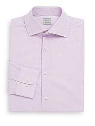 Ike Behar Regular Fit Micro Check Cotton Dress Shirt Carnation
