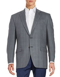 Lauren Ralph Lauren Houndstooth Wool And Silk Blazer Blue