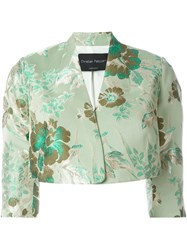 Christian Pellizzari Cropped Jacquard Jacket Green