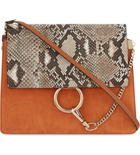 Chloe Faye Python And Suede Satchel Tannish Red Ros