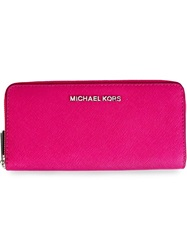 Michael Michael Kors 'Jet Set Travel' Zip Around Continental Wallet Pink And Purple