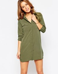 Vero Moda Long Sleeve Shirt Dress Ivygreen