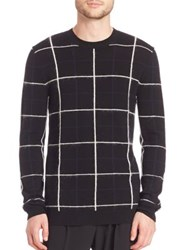 Mcq By Alexander Mcqueen Brush Stripe Grid Wool And Mohair Blend Sweater Black