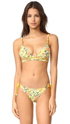 Stella Mccartney Iconic Prints Plunge Bikini Top Yellow Citrus Print