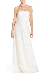Women's Jenny Yoo 'Sadie' Sequin Lace Strapless A Line Gown Ivory