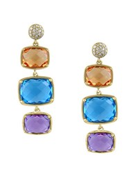 Effy Mosaic Citrine Blue Topaz Amethyst And Diamond 14K Yellow Gold Drop Earrings 0.12 Tcw Multi