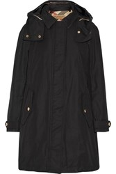 Burberry Brit Hooded Cotton Blend Canvas Coat Black