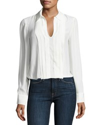 Frame Pleated Split Neck Silk Blouse Blanc