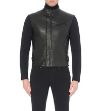Ralph Lauren Black Label Moto Leather Jacket Polo Black