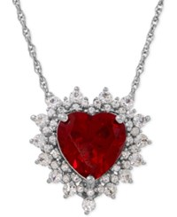 Macy's Lab Created Ruby 4 Ct. T.W. And White Sapphire 1 Ct. T.W. Heart Pendant Necklace In Sterling Silver