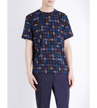 Paul Smith Ps By Paisley Print Cotton Jersey T Shirt Navy