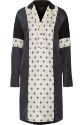 Rag And Bone Hugh Printed Silk Satin Shirt Dress Midnight Blue