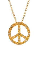 Savvy Cie Pave Diamond Peace Sign Pendant Necklace 0.03 Ctw Metallic