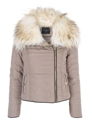 Jane Norman Faux Fur Puffer Coat Stone