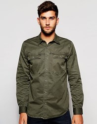 True Religion Workwear Shirt In Faded Olive Faded Olive