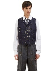 Thom Browne Distressed Piped Check Waistcoat Navy