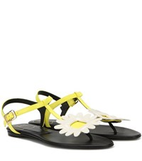 Roger Vivier Thong Chips Flower Leather Sandals Yellow