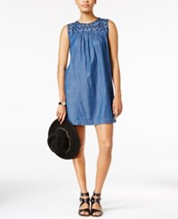 Maison Jules Embroidered Chambray Shift Dress Only At Macy's Medium Wash